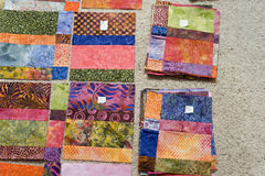 Batik quilt block labeling. Royalty Free Stock Photos
