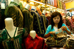 Batik Seller Bandung Indonesia 2011 Stock Photography