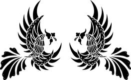 Batik-Stammes- Vogel getrennter Vektor stockfotos