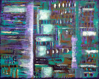 Batik Style Abstract Painting. Fine art abstract painting with a surreal batik style, in purple, teal, brown, beige and white Royalty Free Stock Photo