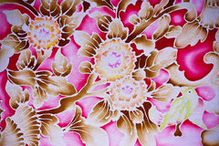 Batik style floral. With pink background Stock Images
