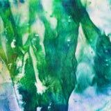 Batik vert et bleu peint à la main abstrait de nodosa Images libres de droits