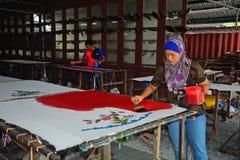 Batik workshop, Penang, Malaysia Royalty Free Stock Images