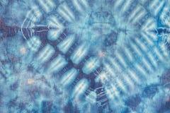 Batikowy błękitny barwidło tekstury sztuki abstrakta tło obrazy stock