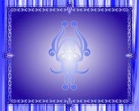 Batikprydnad på blåttramen för din design Arkivbild