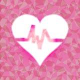 Batimento cardíaco no fundo brilhado cor-de-rosa do triângulo Imagens de Stock Royalty Free