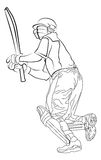 Bating. Line illustration for the Cricket batsman Stock Illustration