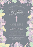 Batismo, batismo, primeiro comunhão, ou molde do convite da confirmação Foto de Stock Royalty Free