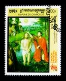Batismo de Cristo por G David, ` internacional do ` 98 de Italia do ` da exposição do selo - serie de Milão, cerca de 1998 Imagem de Stock Royalty Free