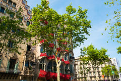 Batllo hus under den sant jordi dagen i barcelona med rosor i solig dag Royaltyfria Foton