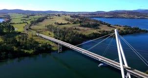 Batman Bridge by the Tamar river near Sidmouth. Long spanning Batman Bridge by the Tamar river near Sidmouth, Tasmania stock footage