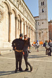 Batman and Catwoman at Lucca Comics and Games 2014. A couple of cosplayers dressed up as Batman and Catwoman during the Lucca Comics and Games 2014 festival Royalty Free Stock Photography