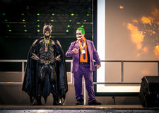 Batman and Joker Cosplay. Sheffield, UK - June 11, 2016: Cosplayers dressed as the Batman and Joker characters from 'Batman' at the Yorkshire Cosplay Convention Royalty Free Stock Photography