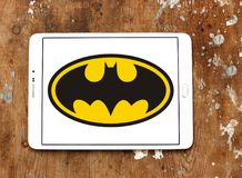 Batman logo. Logo of Batman on samsung tablet. Batman is a fictional superhero appearing in American comic books published by DC Comics royalty free stock photos