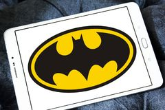 Batman logo. Logo of Batman on samsung tablet. Batman is a fictional superhero appearing in American comic books published by DC Comics royalty free stock photography