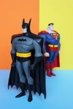 Batman och stålmandiagram Fotografering för Bildbyråer