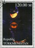 Batman. TURKMENISTAN - CIRCA 2000: stamp printed by Turkmenistan, shows Batman, Batman forever, circa 2000 royalty free stock images