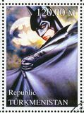 Batman. TURKMENISTAN - CIRCA 2000: stamp printed by Turkmenistan, shows Batman, Batman forever, circa 2000 stock photos