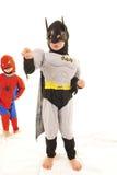 Batman y hombre araña Foto de archivo libre de regalías