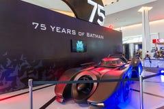 Batmobile 75 år av Batman Arkivbilder