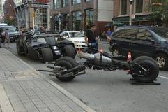 Batmobile e motociclo del batpod Immagine Stock
