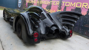 Batmobile - rückseitige Ansicht des Autos des Batmans Lizenzfreie Stockbilder
