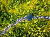 Aerial view of Batnfjorden forest with river. Direct down view over the mountains in Norway. Batnfjorden, Norway. Aerial view of Batnfjorden forest with river royalty free stock photography