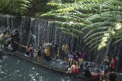 People bathe in cold and clean rocky mountain spring water river. Bato Springs, San Pablo City, Laguna, Philippines - May 15, 2016: people bathe in cold and royalty free stock photography