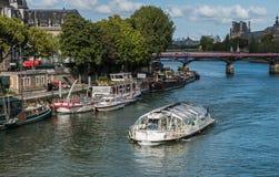 Batobus乘客格里在艺术桥,巴黎附近通过 库存照片