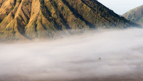 Batok with fog. In the morning Royalty Free Stock Images