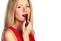 Batom do vermelho da mulher Fotos de Stock Royalty Free