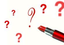 Batom e uma pergunta Fotografia de Stock