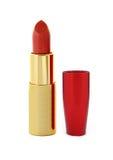 Batom vermelho bonito na câmara de ar dourada isolada Fotografia de Stock Royalty Free