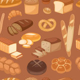 Baton bread seamless pattern cartoon vector illustration of graphic loaf snack wheat bakery design. Royalty Free Stock Photo
