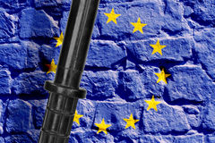 Baton and flag of the European Union Royalty Free Stock Image