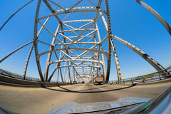 Baton Rouge Bridge. Fish eye view of the Baton Rouge bridge on Interstate Ten over the Mississippi River in Louisiana royalty free stock photography