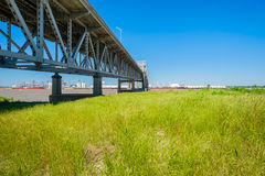 Baton Rouge Bridge. On Interstate Ten over the Mississippi River in Louisiana royalty free stock image