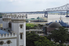 Baton Rouge, LA waterfront with Old State Capitol Stock Photography