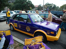 BATON ROUGE, LOUISIANA - 2014: Car painted in the gold and purple LSU colors during a football game Royalty Free Stock Photo