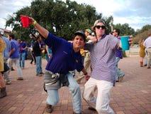 BATON ROUGE, LOUISIANA - 2014: Fans tailgating during an LSU football game. Two fans tailgating at Louisiana State University during an LSU football game stock photos