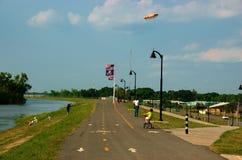 LSU - Skip Bertman Drive Levee Trailhead. Baton Rouge, Louisiana, USA - 2019: People enjoy a sunny afternoon at  the  LSU - Skip Bertman Drive Levee Trailhead royalty free stock image