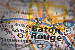 Baton Rouge on map. Closeup of Baton Rouge, Louisiana on a road map of the United States royalty free stock image