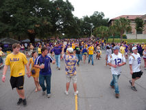 BATON ROUGE, USA - 2014: Fans tailgating during an LSU football game. Fans tailgating during an LSU football game royalty free stock images