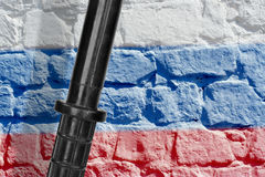 Baton and the Russian flag Stock Photography