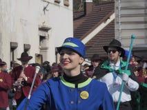 Baton twirler in spring parade royalty free stock photo