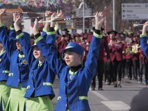 Baton twirlers in spring parade stock photos