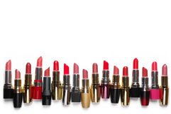 Batons cosméticos coloridos ajustados Fotografia de Stock