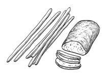 Batons de ciabatta et de pain illustration stock
