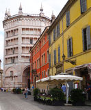 Batristry, Parma, Italy. Batristry (Battistero) main entrance view from an old street, Parma, Italy royalty free stock photography