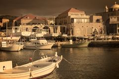 Batroun Fishing Port, My Town. A view of the Batroun fishing port, a Lebanese coastal town, in the afternoon Stock Image